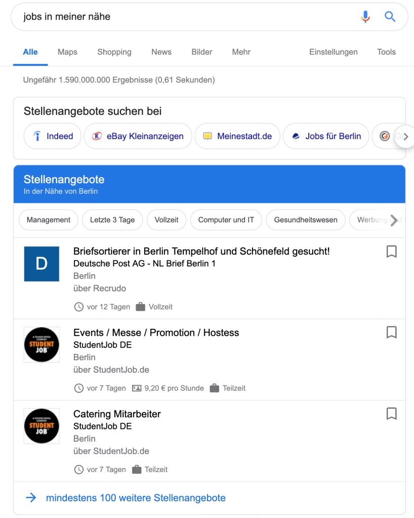 Google For Jobs Anleitung Suchergebnisse in Deutschland bei regionaler und lokaler Suche in meiner Nähe