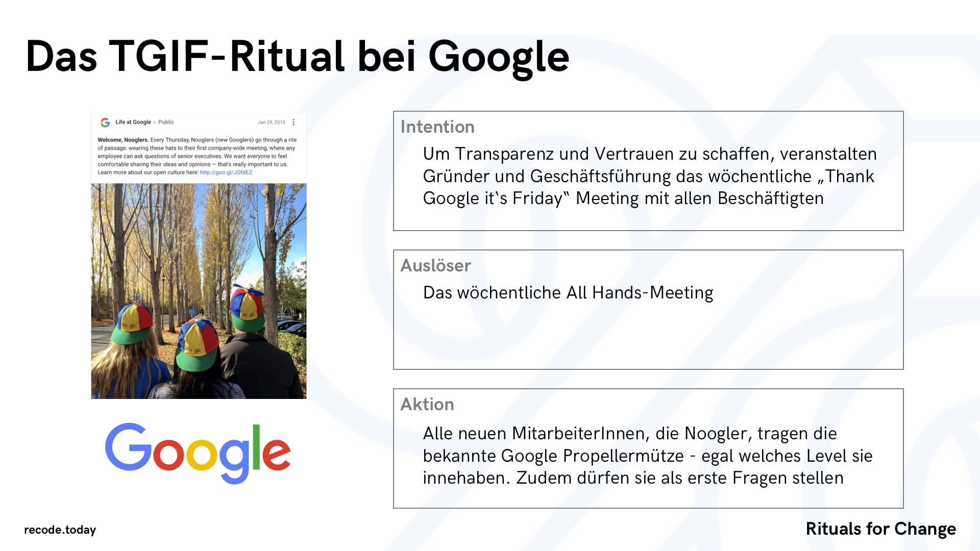 Rituals For Change Veraenderung & Wandel TGIF Google